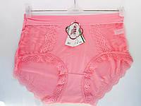 Трусы женские оптом, высокие, с кружевными оригинальными вставками, цвет розовый