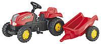 Трактор педальный  с прицепом Rolly Toys Kid X красный