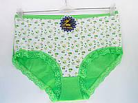 Трусы женские оптом, хлопок, высокие с широкими боками, перед с мелким цветочным принтом, зеленого цвета