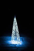Елка новогодняя конусная, высота 120 см, диаметр 50 см, гирлянда внешняя LED 50 лампочек