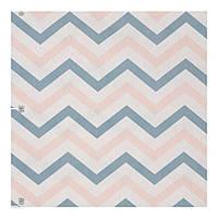 Портьерная ткань Лен  Артикул400243 v 2 зигзаг голубой, розовый