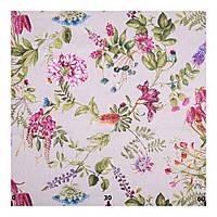 Портьерная ткань Лен 400235 v 1 цветы: малиновая, оливковая, белая, льняная