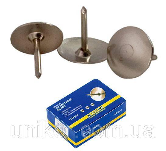 Кнопки 100 шт/уп., нікельовані. BuroMax