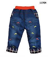 """Теплые джинсы """"Машинки"""" для мальчика. 90 см"""