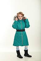 Пальто зимнее бирюзовое