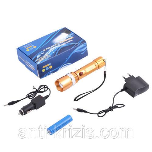 Фонарь Police 12v 8626C-C-XPE-зол., ак.18650, zoom, комплект (синяя упаковка)-гарантия!