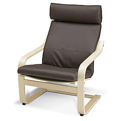 Кресло IKEA POÄNG березовый шпон Робуст Глосе темно-коричневый 898.291.19