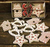 Набор деревянных елочных игрушек Уютный подарок,новогодние игрушки