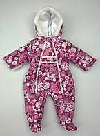 Комбинезон  для малышки в бордовые цветы