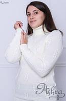 """Теплый женский свитер """"Косы"""". Молоко, фото 1"""