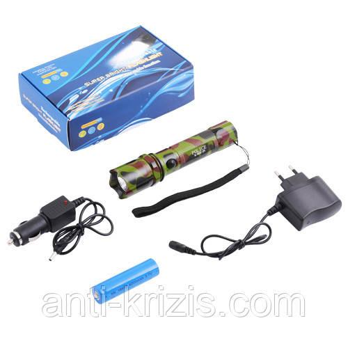 Фонарь Police 12v 8626C-XPE-камуфляж, ак.18650, комплект (синяя упаковка)-гарантия!