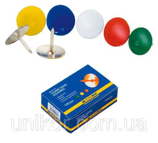 Кнопки 100 шт./уп., цветные никелированные. BuroMax