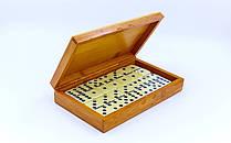 Доміно настільна гра в бамбуковій коробці IG-1247 (кістки-пластик, h-4,9см, р-р кор. 19,5x12x4см)