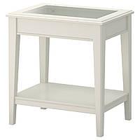 LIATORP Придиванный столик, белый, стекло
