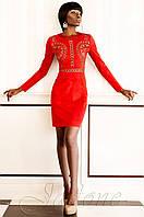Нарядное  красное платье из замши Конэл Jadone  42-50 размеры
