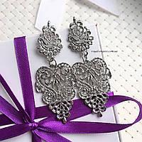 """Серьги """"Бижу""""  серебристый цвет, модный дизайн., фото 1"""