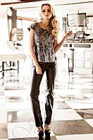 Стильные черные брюки из стрейчевой эко-кожи Некси Jadone  42-48 размеры