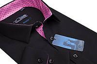Классическая мужская рубашка черного цвета с длинным рукавом