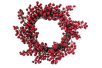 Новогодний большой венок из лозы с красными ягодами, 50см