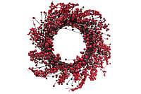 Новогодний большой венок из лозы с красными морозными ягодами, 55 см