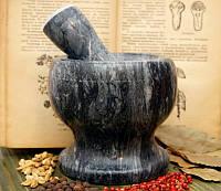 Ступка мраморная чёрная (12х12х12 см)