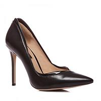 Женские классические туфли лодочки на шпильке черные эко-кожа