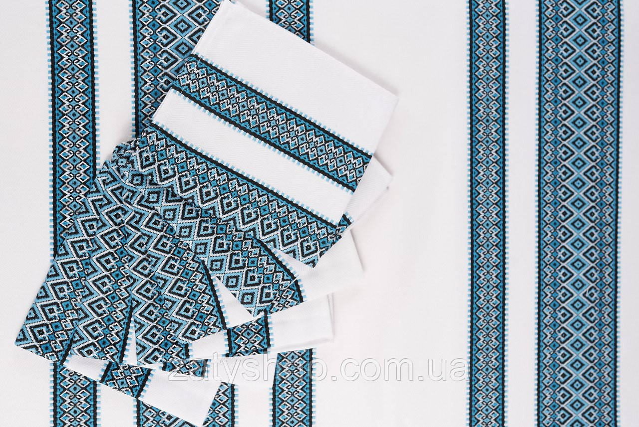 Скатертина вишита синя з серветками