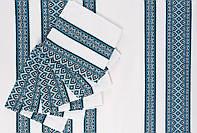 Скатерть вышитая синяя с салфетками