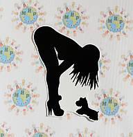 Наклейка Девочка с собачкой