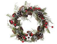 Рождественский  маленький венок с декором, 22 см, 6 шт!