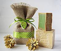 Алеппское мыло Kadah (5% лавра) в подарочном мешочке с листочком