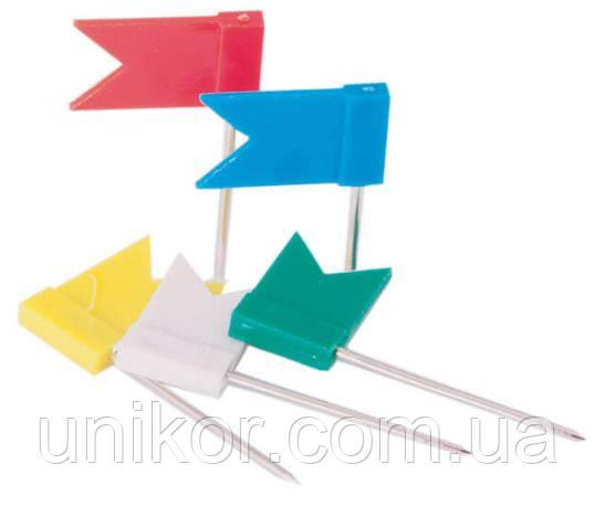Кнопки, прапорці 30 шт./уп., асорті. BuroMax