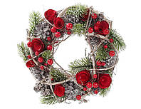 """Рождественский  маленький венок с декором """"Розы"""", 22 см"""