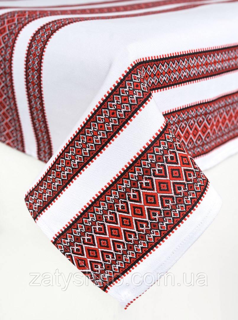 Скатерть красная на хлопке машинная вышивка