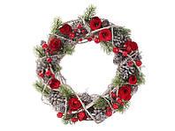 """Рождественский венок с декором """"Розы"""", 30 см"""