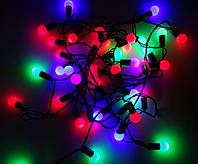 Светодиодная Гирлянда Шарики Новогодняя на Елку 1,5 см 40 LED Мульти