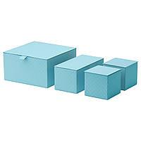 PALLRA Коробка с крышкой, 4 шт., светло-голубой