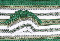 Вышитая скатерть с салфетками зеленая