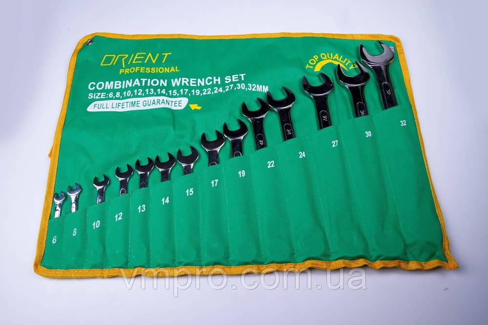 Набір ключів Orient (рожково-накидних) Cr-V хром, 8 шт.(8-19 мм) у брезентовому чохлі