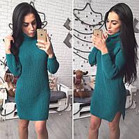 Бомбезное вязаное платье-туника, расцветки