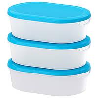 JÄMKA Емкость для пищи, прозрачный белый, синий