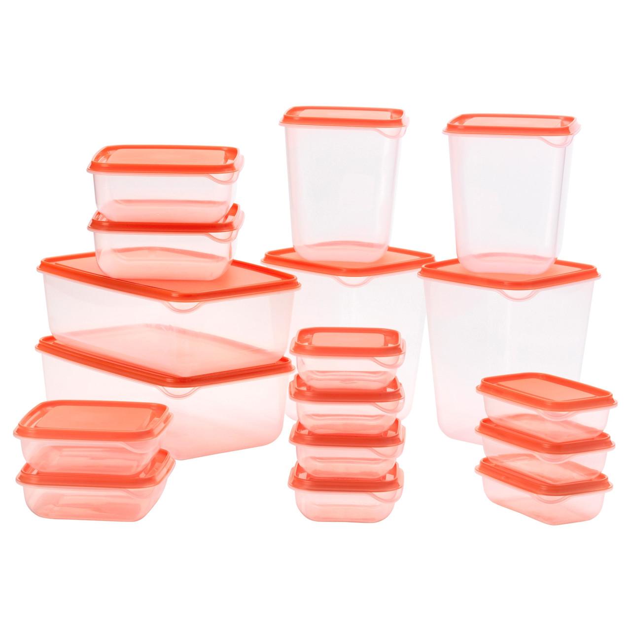 PRUTA Контейнер на продукты питания, 17 шт., прозрачный, оранжевый 802.515.51