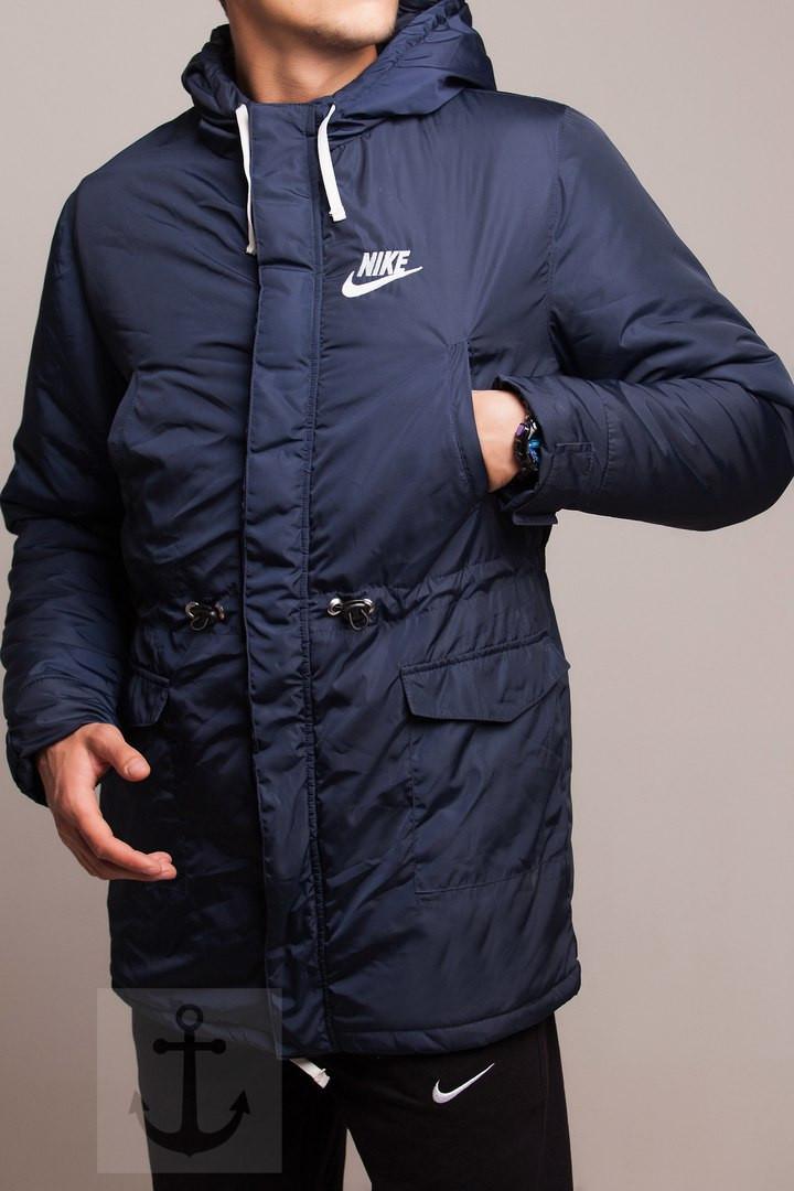 Мужская зимняя парка Nike темно-синяя топ реплика - Интернет-магазин обуви  и одежды 2fd37a531f6