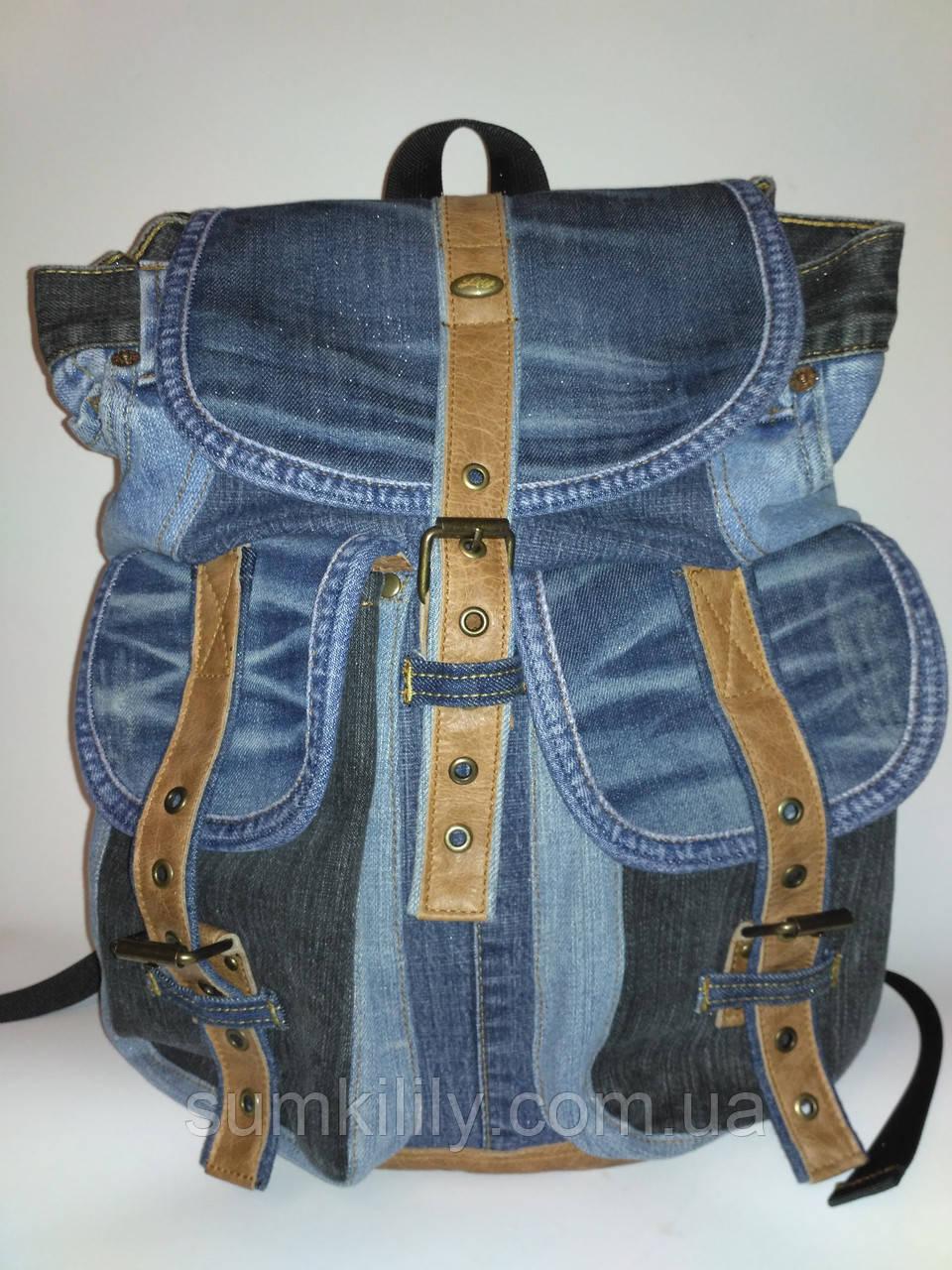 Джинсовый рюкзак с светло - коричневой кожей