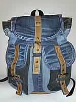 Джинсовый рюкзак с светло - коричневой кожей, фото 1