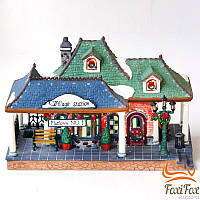 Фарфоровый домик Новогодний вокзал с подсветкой