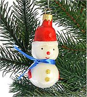 """Стеклянная елочная игрушка """"Снеговик"""" 1065"""