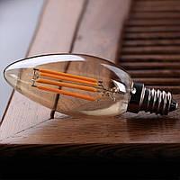 """LED лампа Эдисона C-35  (4w) E-14 (CLEAN) (AMBER) """"NEW"""" filament"""
