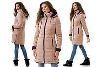 """Женское стильное тёплое пальто на синтепоне 0085 """"Капюшон Кнопки"""" в расцветках"""