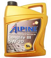 Моторное масло ALPINE 5W30 Longlife III 5L синтетика ( C3 , MB 229.51 , VW 504/507 , BMW 04 )